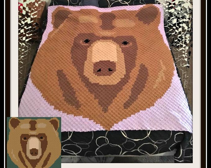 Featured listing image: Bear Head C2C Graph, Bear C2C Graph, Bear Corner to Corner, Bear Crochet Pattern
