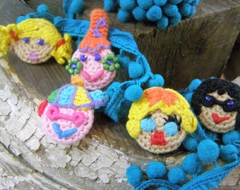 5 Delightfully Detailed Crocheted Button Characters for Sewing, Knitting, Crocheting Projects. Appliques and Beads for Needlecraft. Magnets.