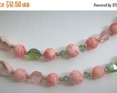 20% Off Sale Gorgeous Vintage Necklace Pink Glass-AB Crystal-Pink Stone