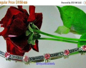 30% Off Clearance Sale Retro Silver Tone and Pink Rhinestone Bracelet