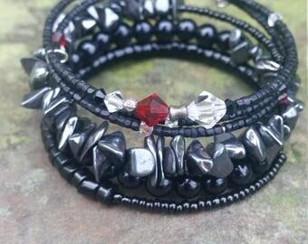 2 Black Random Beaded Memory Wire Bracelets~hematite~swarovski crystal