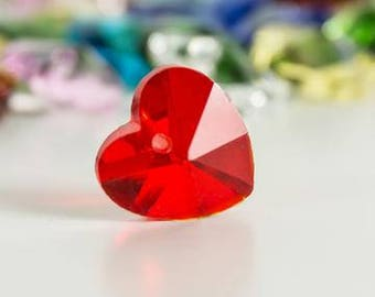 Red Heart Shaped Crystal Glass Bead 14mm