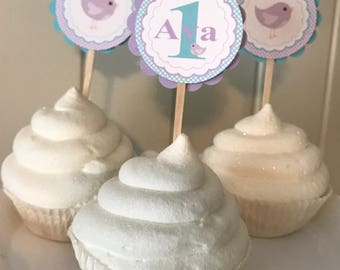 SWEET BIRDIE Birthday Party Cupcake Toppers 12 {One Dozen} Aqua Lavender - Party Packs Available