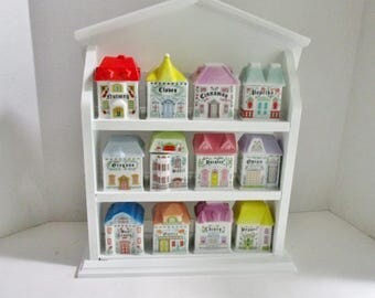 Vintage Spice Rack with 12 Jars Porcelain Victorian Houses Wall Hanging