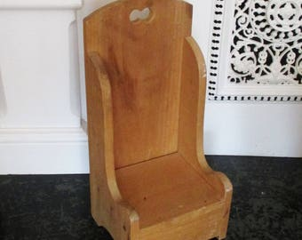 Vintage Doll Chair Wood High Back Large Toy Doll Chair Solid Wood Tall Chair Cutout