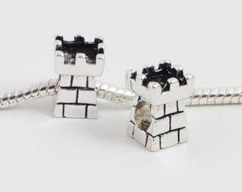 3 Beads - Castle Medieval Rook Chess European Charm Bead E0058