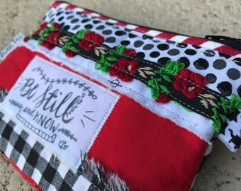 coin purse- change purse- credit card wallet bag-black white red-fabric scripture bag-small tiny zipper bag-bible verse be still and know
