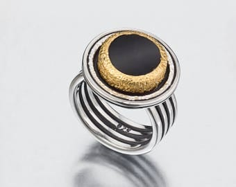 Black Onyx Ring, Black Ring Women, Black Stone Ring,  22k Gold Ring, Mixed Metal Jewelry, Israeli Rings, Black Silver Ring, Made to order