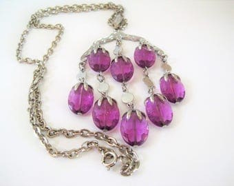 Sarah Coventry Waterfall Necklace, Purple Lucite, Vintage 70's
