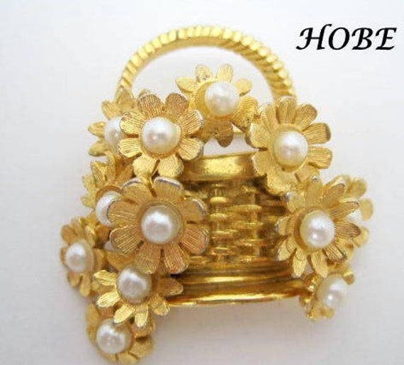 Hobe Flower Basket Brooch - Pearl Covered - Faux Pearls - Wedding Pin