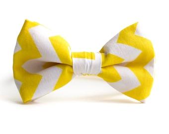 Ready to ship yellow chevron bowtie