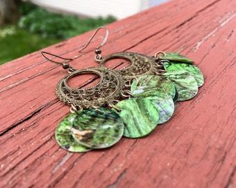 """Green """"Simply Chandelier"""" Mussel Shell Earrings"""