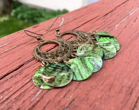 "Green ""Simply Chandelier"" Mussel Shell Earrings"