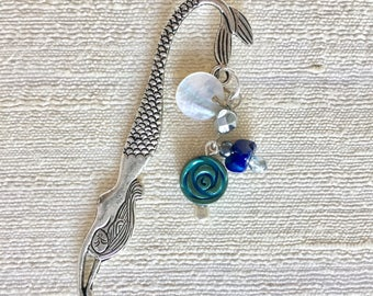 Mermaid Bookmark with Blue Beads