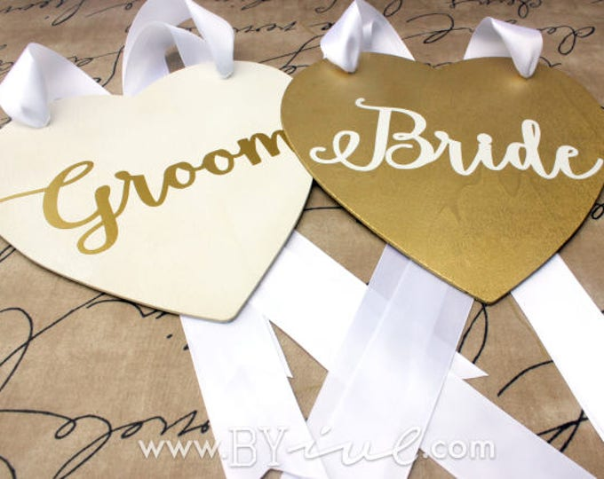 Groom Bride Chair Sign. Gold and white shabby chic wedding decor. Wood heart wedding signs.