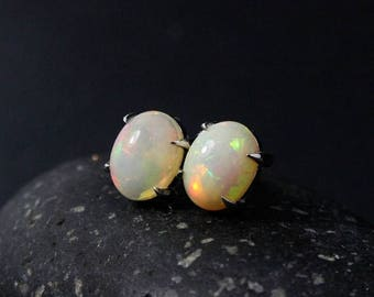 ON SALE Australian Opal Stud Earrings, Opal Posts, October Birthstone, Birthstone Studs