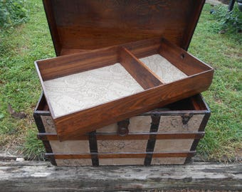Repurposed steamer trunk coffee table entertainment center storage suitcase travel
