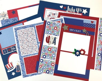 July 4th Scrapbook Page Kit or Premade Pre-Cut with Instructions 6 pages 12x12 Independence Day