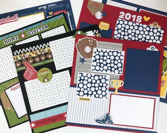 12x12 Baseball Scrapbook Page Kit or Premade Pre-Cut with Instructions 6 pages Team Coach Baseball Sports World Series ballpark