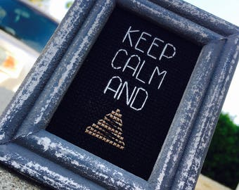 Mini Wooden Distressed Framed Cross Stitch - Keep Calm And Sh!t Poop