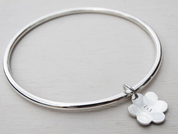 Personalised Silver Flower Bangle, Sterling Silver