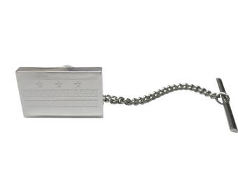 Silver Toned Etched Washington DC Flag Tie Tack