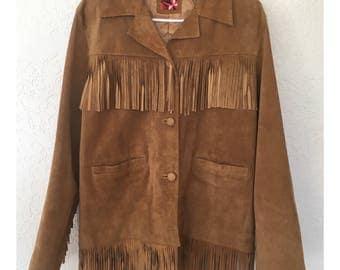 Vintage Marlboro Red Star Fringe Leather Jacket