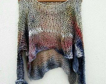 Hand dyed tunic   jumper, unique  knitted cotton blouse
