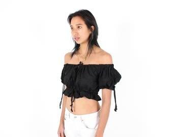 Adorable OFF SHOULDER Black Cotton DOLL Puff Sleeve Super Cropped Crop Top