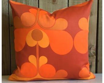 Vintage 70s Orange Fabric Cushion Cover  Retro Throw Pillow Cover