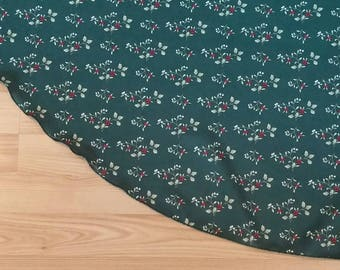"Holly Print Large 58"" Tree Skirt - Green Holiday Decor, FREE Shipping, Made in USA, Holly Leaf, Holly Berry, Green and Red"