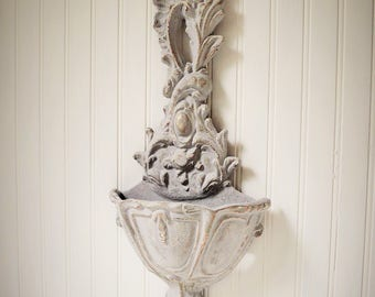 Wall Pocket Large Paris Grey Highly Distressed Ornate French Apt Victorian Shabby Cottage Upcyclesisters