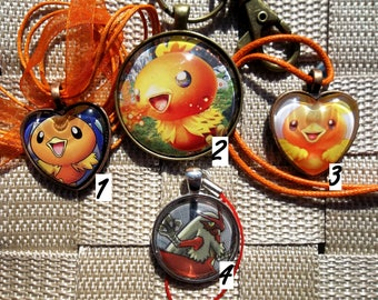 Torchic, Combusken, and Blaziken Pendant Necklace made from Trading Cards