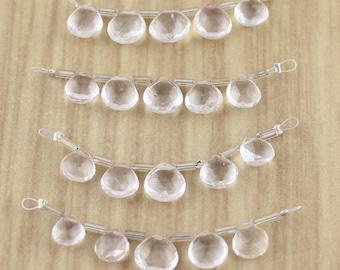 Faceted Wide Tear Drop Shaped Clear Quartz Gemstone Briolette Beads - Final Sale - Destash Jewelry Making Supplies