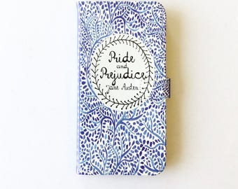 Jane Austen Gift, Pride and Prejudice Phone Case, Jane Austen iPhone Case, Book Phone Case, Book iPhone Case, iPhone 7, Wallet Phone Case