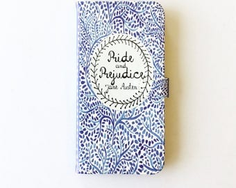 Jane Austen Gift, Pride and Prejudice Phone Case, Jane Austen iPhone Case, Book Phone Case, Book iPhone Case, iPhone 8, 7, Wallet Phone Case