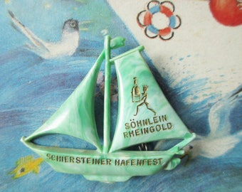 German Vintage Sailboat Hat pin or Brooch, made from Celluloid Plastic, Great Nautical Gift