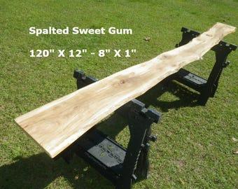 FINISHED Spalted Sweet Gum Live Edge Shelf, Tree Slice Slab Ready For Use, Natural Edge Shelving, Wooden Book Shelf, Artistic Bar Top 9035