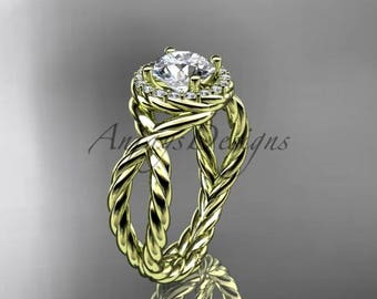 "14kt yellow gold rope halo diamond engagement ring with a ""Forever One"" Moissanite center stone RP8127"