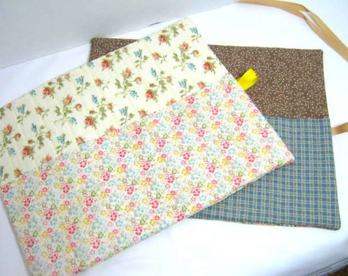 Flowers Crochet Needle Roll Holders,  Double Pointed Organizers - Set of 2