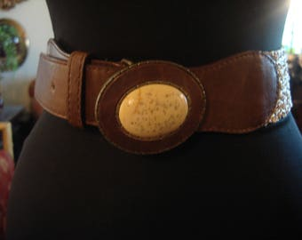 Vintage 1990s Boho Chic Brown Leather Belt with Beige Faux Stone Buckle