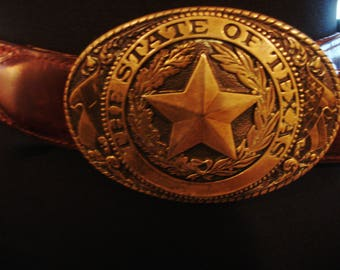 Vintage 1990s TONY LAMA State Texas Series Brown Leather Belt with Texas Brass Buckle