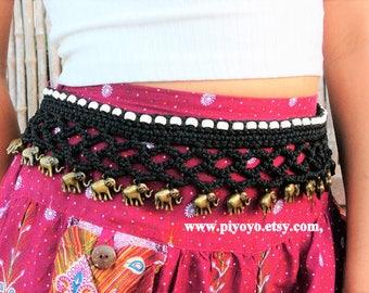 Best selling jewelry, boho crochet belt, belly belt, body jewelry, elephant print, beach jewelry belts, handmade original gifts items,PIYOYO