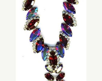 15% OFF SALE Red and Red Aurora Borealis Necklace   Item No: 14923m