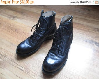 ON SALE Vintage black leather steel toed military boots / Vintage leather army boots / Unisex Army Boots / Men's size 7.5 / Women's size 9/1