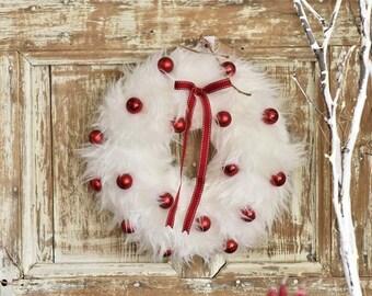 White Faux Fur Christmas Wreath, Christmas Front Door Wreath, White Fur Wreath