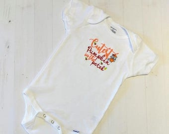 Cutest Pumpkin in the patch embroidered t shirt for girls