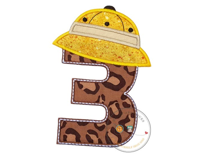 Number three, safari/jungle hat, birthday iron-on patch in brown, animal print with yellow, safari hat resting on top of number three