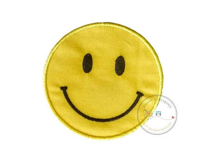 ON SALE NOW Emoji smile face iron on applique, yellow smiley face no sew patch ready to ship