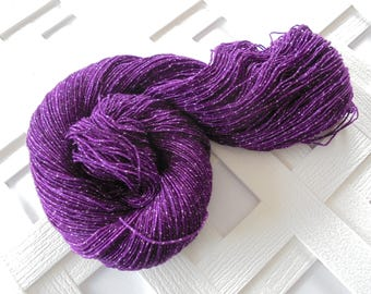 Hand-Dyed Sparkly Merino Yarn, EGGPLANT, Hand-Dyed Sock Yarn, Fingering Yarn, Sparkly Merino Yarn, Soft Merino Sock Yarn, Purple Yarn, Weave